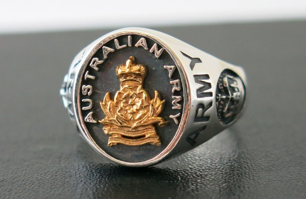 australian army stainless steel military ring
