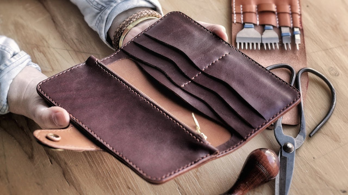 womens leather wallet case