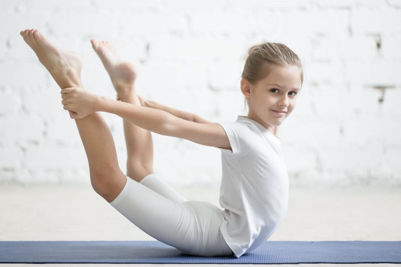 A girl training gymnastic