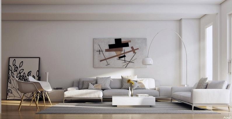 Designer art prints in living room