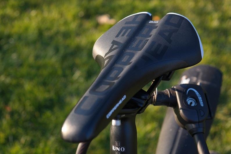 close-up of bike saddle