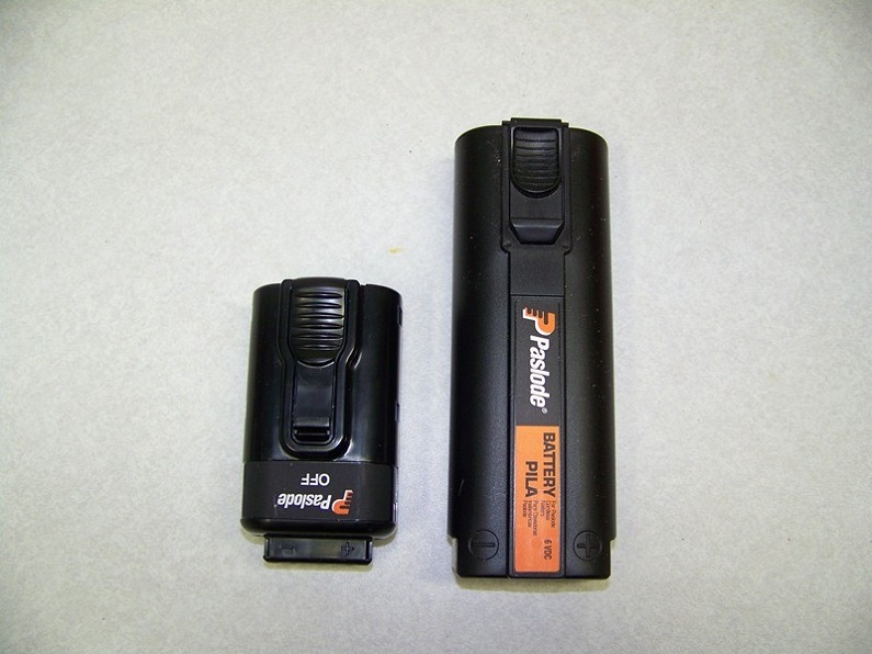 close-up of paslode batteries