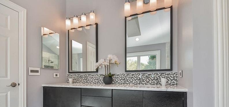 framed mirrors bathroom design