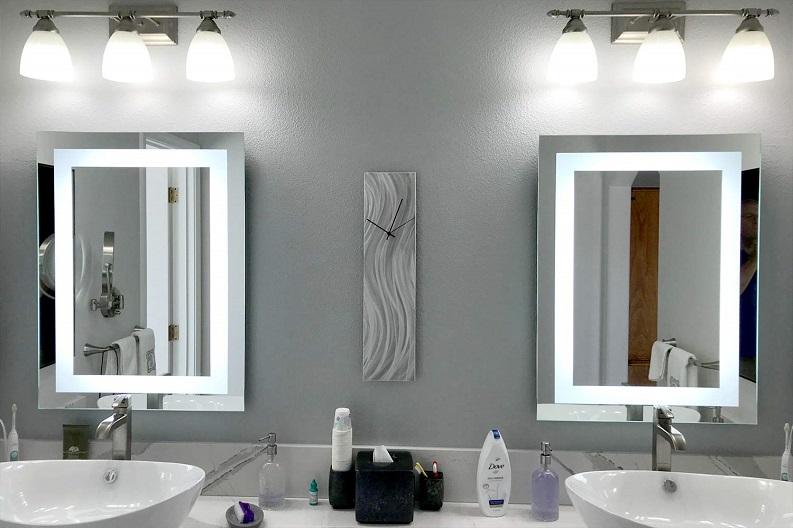 lighting mirrors white and grey design